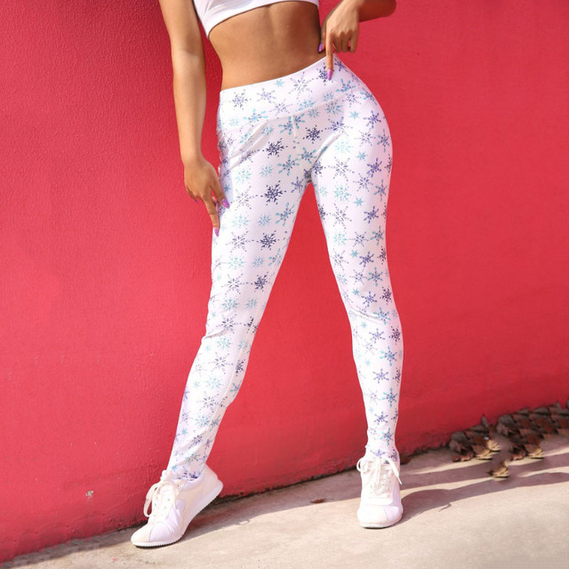 New Fashion Snow Pattern Printing Leggings Women High Waist Push Up Pants Female Sexy Workout Fitness Pants Slim Women Leggings 1