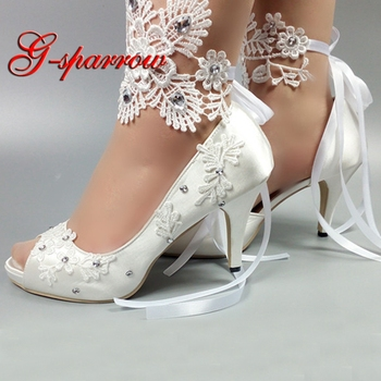 Elegant Peep Toe Wedding Shoes Satin Material Lace Flower Bridesmaid Shoes Beautiful Woman Summer Dresss Shoes with Ankle Straps