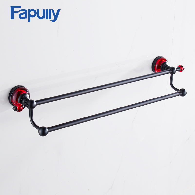 Fapully Towel Rack Bathroom Hardware Shelf Wall Mount Space Aluminum Double Towel Bars Bathroom Accessories