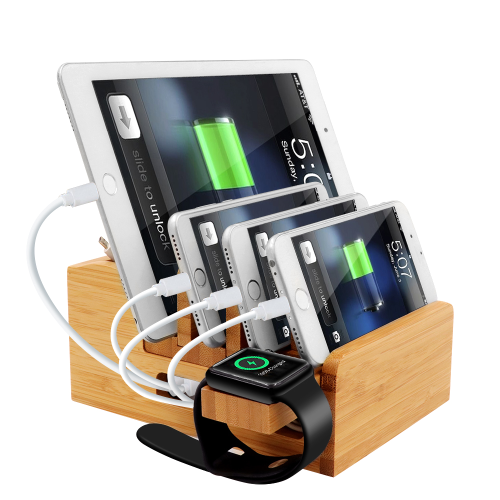 iCozzier Bamboo Charging Station Dock Desktop Organizer Holder for iPad,iWatch Stand Cord Organizer MultiDevices Docking Station-in Home Office Storage from Home & Garden