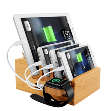 iCozzier Bamboo Charging Station Dock Desktop Organizer Holder for iPad,iWatch Stand Cord Organizer MultiDevices Docking Station