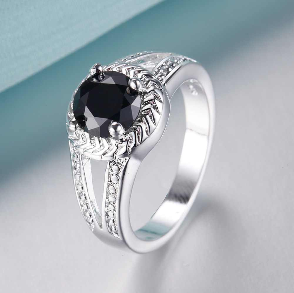 คลาสสิกสีดำ zircon ขายส่งเงิน 925 แหวนแฟชั่นเครื่องประดับแหวนผู้หญิง/THWROINP PTIIWFFN