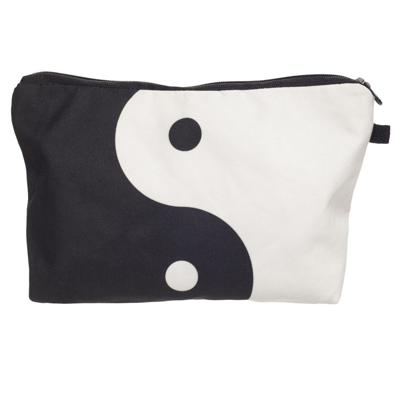 Chinese yin yang 3D printing cosmetic bag 2016 new trousse de maquillage necessaire women neceser para mujer trousse de toilette