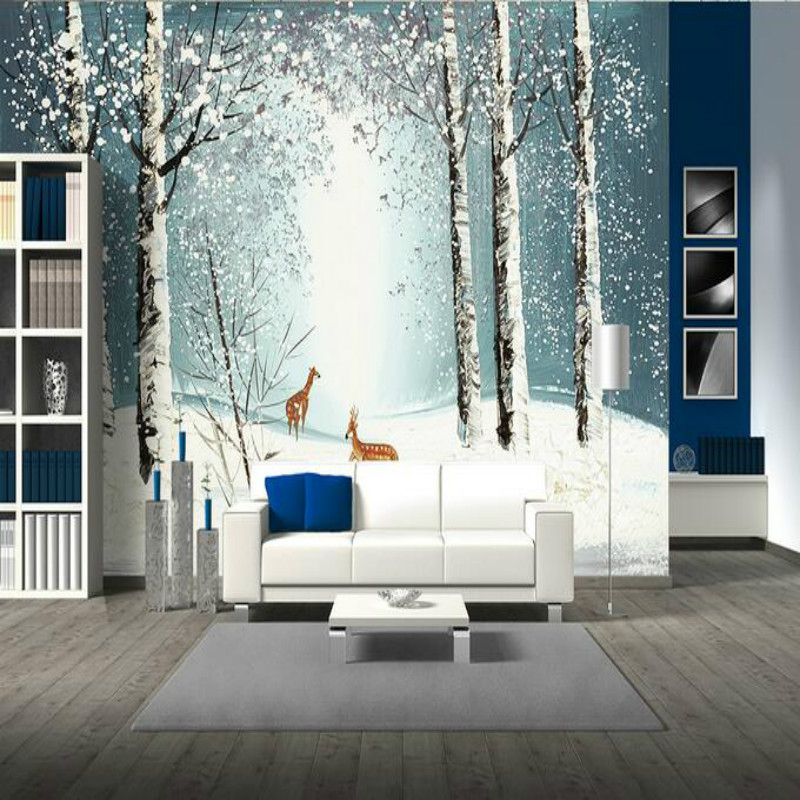 Custom wallpaper for walls 3d Mural wallpaper Living Room bedroom forest elk home background wall decoration Hand painting  free shipping 3d wall breaking basketball background wall bedroom living room studio mural home decoration wallpaper