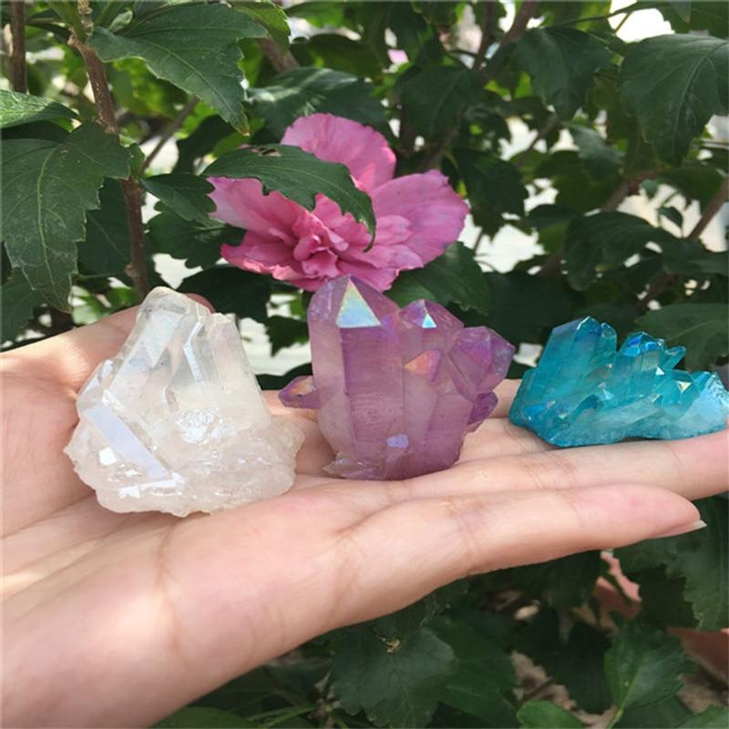 3pcs Natural and beautiful electroplated quartz 84g