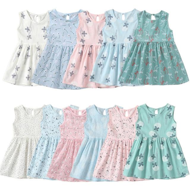 Коллекция 2018 года, детское платье без рукавов для девочек возрастом от 1 года до 7 лет, летние платья с цветочным принтом для девочек, детская одежда, хлопковое платье принцессы для малышей, наряды