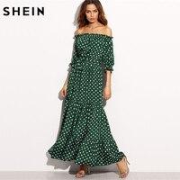 SheIn Polka Dot Bardot Neckline Tie Waist Dress Off The Shoulder Three Quarter Length Sleeve A