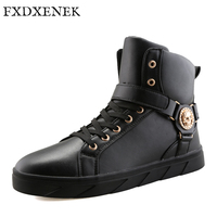 FXDXENEK Brand New Winter Men Boots Leather Boots High Quality Men Winter Shoes Work Safety Snow