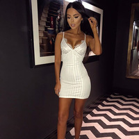 e4f0a627333 New Arrival Black White Lace Mesh Patchwork Sexy Mini Dress Short Dresses  For Women Parties Nightclub