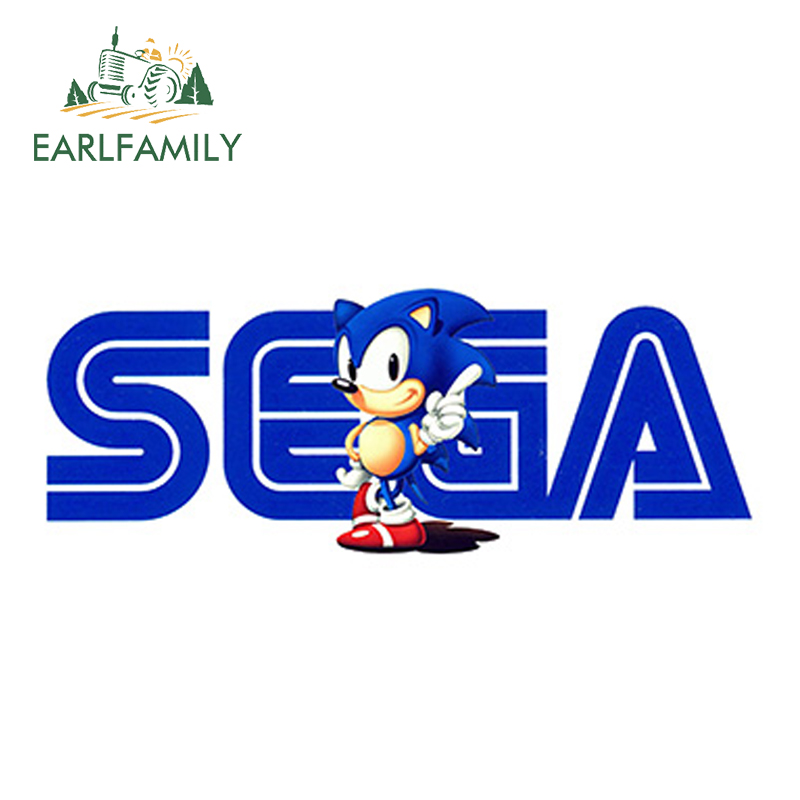 EARLFAMILY 13cm X 4.9cm For SEGA Sonic Vintage Logo Sticker Personality Car Stickers Waterproof Car Accessories Car Bumper Decal