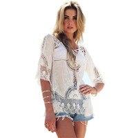 #4522 المرأة الدانتيل الكروشيه شاطئ شكا غطاء الشاطئ أعلى قميص بلوزة