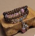 Fashion 6mm Citrine  Tridacna Black Agate  Tibetan Buddhist 108 Prayer Beads Necklace Gourd mala Prayer Bracelet for Meditation