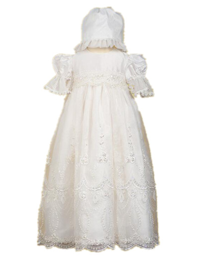 2016 Luxury Custom Christening Gown White Ivory Baptism Dress Robe Baby Girl Boy Infant Lace Beading 0-24 month WITH BONNET цены онлайн