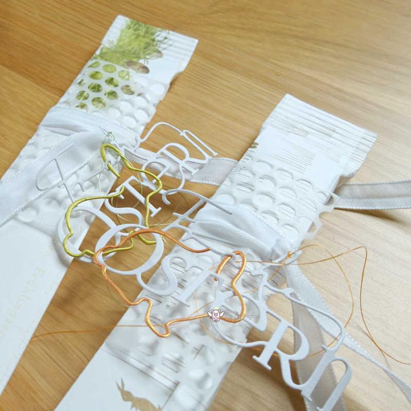 Hucha de corte de metal troquelado molde 2 piezas huevo de Pascua conejo álbum de recortes de papel artesanal cuchillo molde hoja perforadora plantillas muere