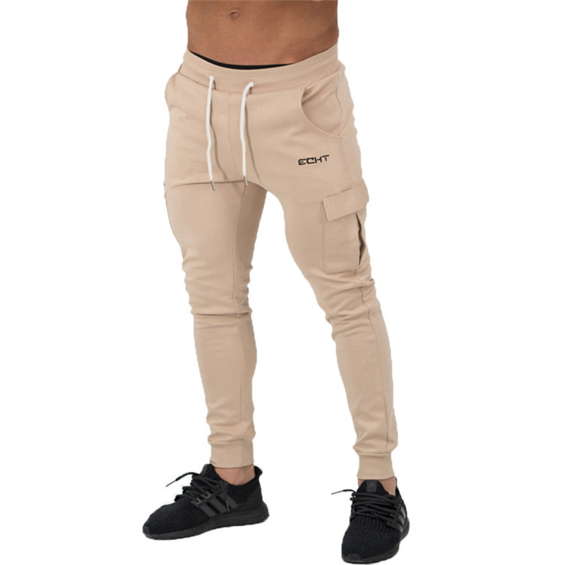 Many Pockets Active Joggers Pants Black Khaki Fitness Cotton Mens Sweat Pants Mid 2017 Casual Trousers Man Pants Joggers CK33