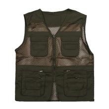 Fishing Vest Summer Outdoor Men Hiking Hunting Multi-pocket Armygreen Waistcoat Professional Photography Jackets Plu Size
