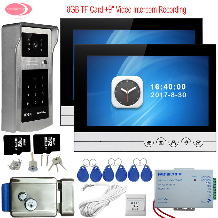 Home Phone Rfid Code Panel 9'' Doorbell Camera Video Recording 8GB TF Card For Video Door Phone 2 Monitors With Electronic Lock rfid reader doorbell camera for 10 apartment door bell 4 3 color monitors home intercom with electronic lock video doorman home