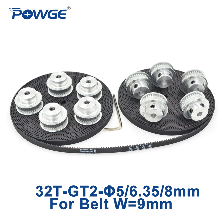 POWGE 10pcs 32 teeth GT2 Timing Pulley Bore 5mm 6.35mm 8mm + 10Meters width 9mm GT2 open Timing Belt 2GT Belt pulley 32T 32Teeth powge 8pcs 32 teeth gt2 timing pulley bore 5mm 6 35mm 8mm 5meters width 9mm gt2 open timing belt 2gt pulley belt 32teeth 32t