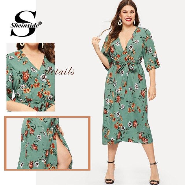 Sheinside Plus Size Floral Print V Neck Summer Dress Women Half Sleeve Chiffon Dress 2019 High Waist Belted Straight Dresses 5