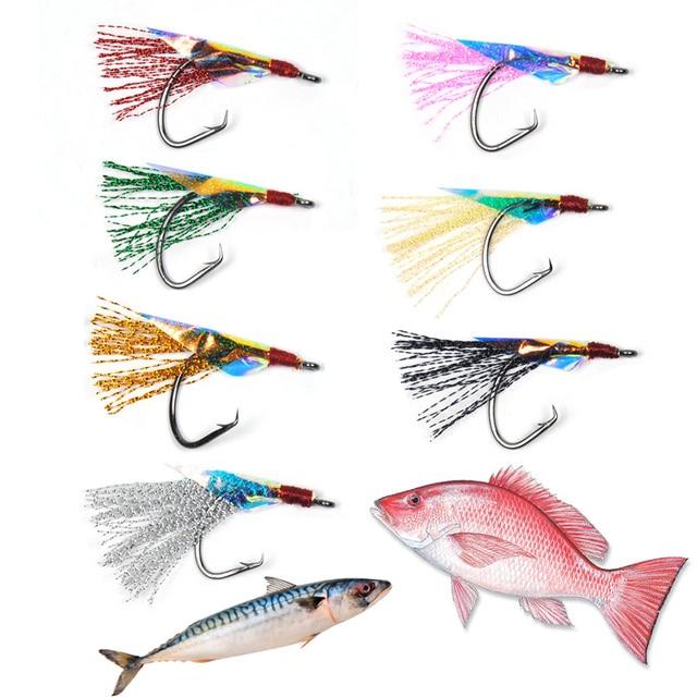 US $5 73 21% OFF|12pcs Circle Hook Fishing Fly for Sabiki Rig Flash Flies  Saltwater Pink Black Green Gold Blue Silver 1/0 2/0 4/0 6/0 8/0 1 2 4-in