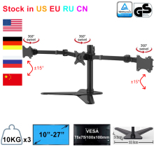 "Desktop Triple LCD Monitor Three Hex LCD Arm Monitor Mount Stand Adjustable 3 Screens Fit for 10"" 27"" Max Support 10KG Per Arm"