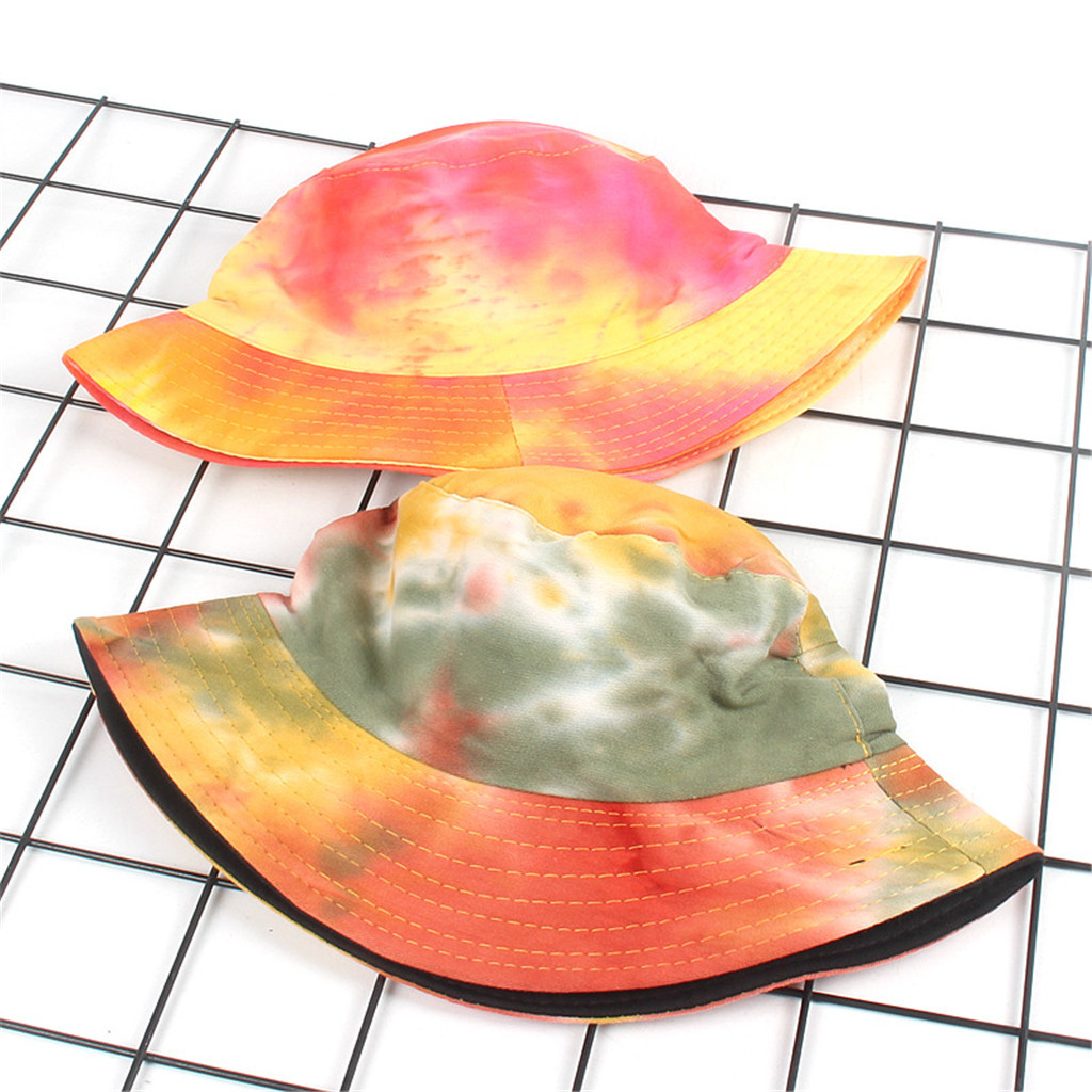 Adults Bucket Hat Double-faced Cap Summer Tie Dye Boonie Beach Outdoor Sunhat
