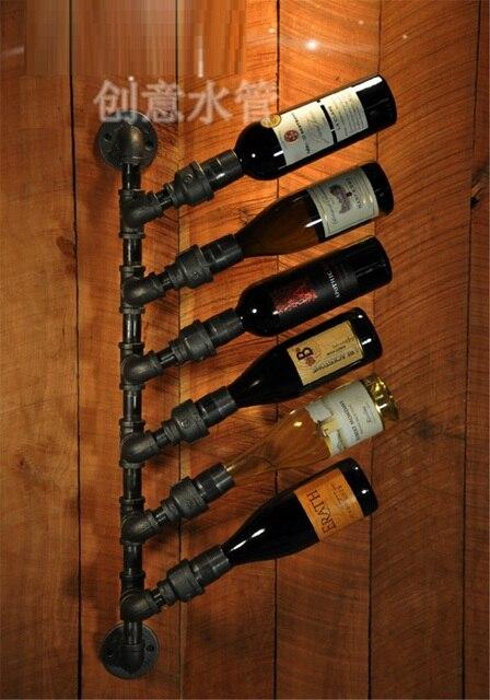 Iron Wine Rack Creative Bar Retro Water Reservoir Wall Mount Wall