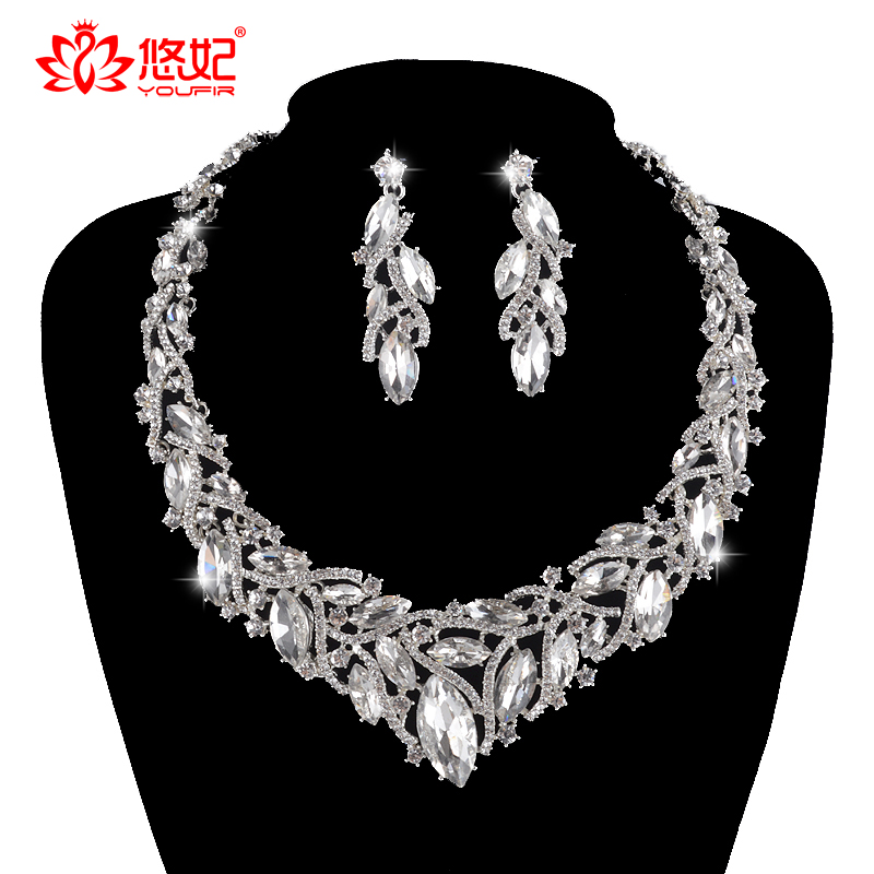 delicate silver color bridal jewelry sets for bride wedding party necklace earrings set women dress marquise rhinestone jewlery a suit of delicate rhinestone necklace bracelet earrings and ring for women