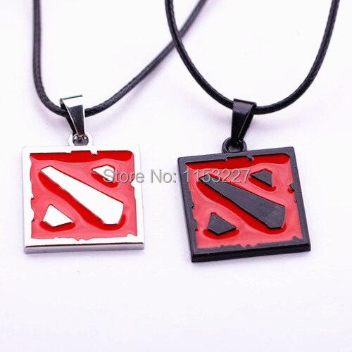 Men women trade online games around black red dota 2 sign pendant necklace 2.5CM colar military
