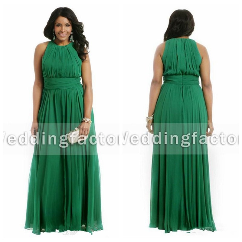 US $102.7 21% OFF 2019 Emerald Green Plus Size Crew Sleeveless Ruched  Chiffon Formal Prom Dresses A Line Evening Maxi Prom Gowns Vestidos-in Prom  ...