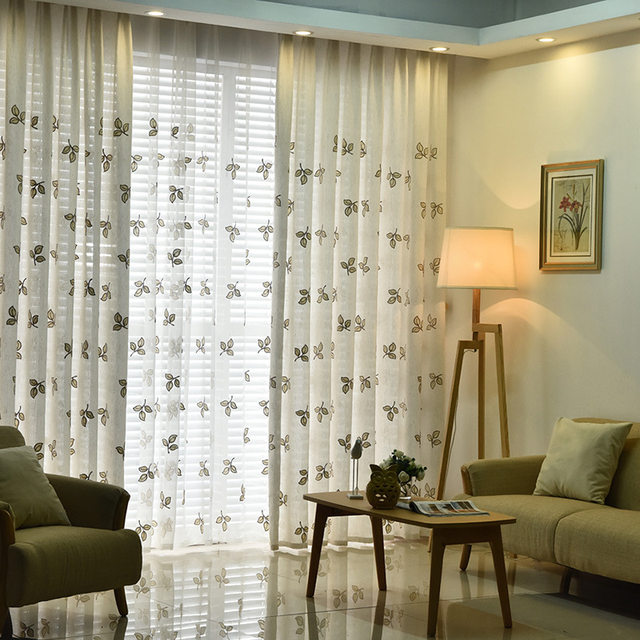 Embroidered Leaves Linen Green Curtains For Living Room Sheer Semi Blackout Fabrics Bedroom AG2662