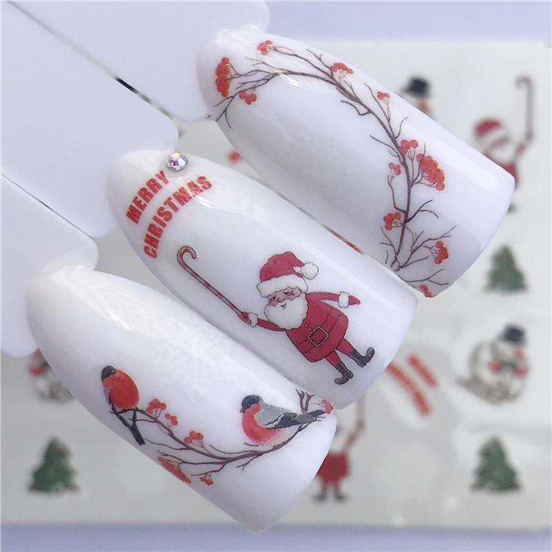 LCJ рождественские наклейки для ногтей DIY Дизайн ногтей татуировки наклейки самоклеющиеся Совет наклейки украшения