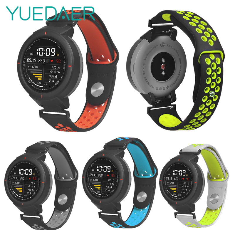 YUEDAER New Double Color Wrist Strap For Xiaomi Amazfit Verge Band Smart Watch Accessories For Amazfit Verge Straps Silicon Soft