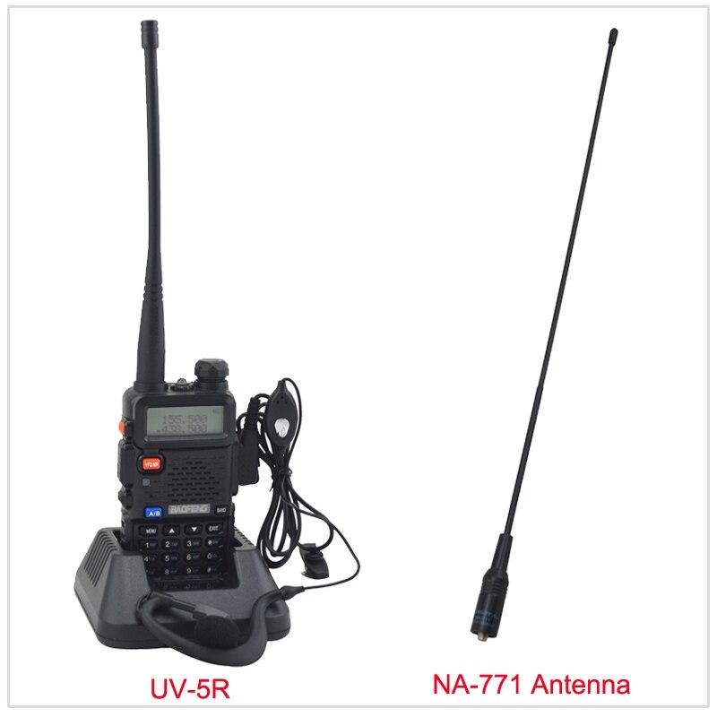 Baofeng radio bibande UV-5R talkie walkie radio 136-174/400-520 MHz radio bidirectionnelle avec l'écouteur libre et livraison NA-771 Antenne