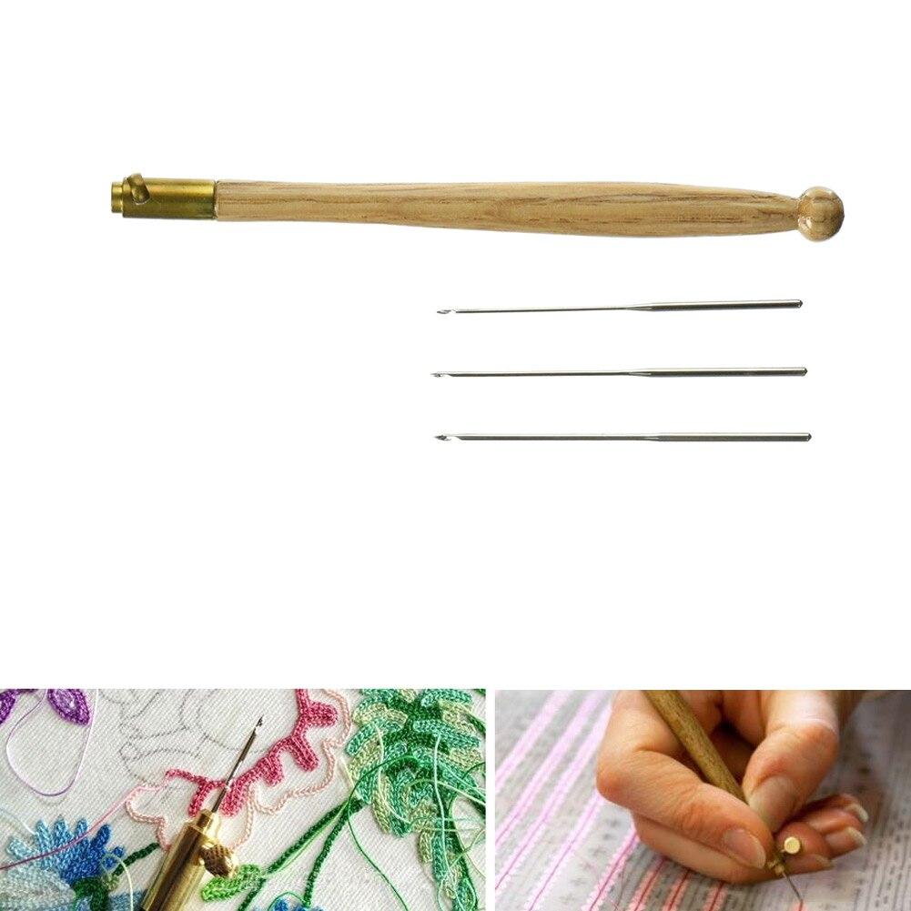 Recentemente Tambour Gancio con 3 Aghi 70 90-100 Strumenti di Ricamo Paillettes Bead Neddle Set Tool Kit Vendita