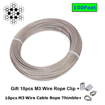 1/8 Inch Stainless Steel Aircraft Wire Rope For Deck Cable Railing Kit,7x7 100/164Feet T316 Marine,Gift M3 Wire Rope Clip