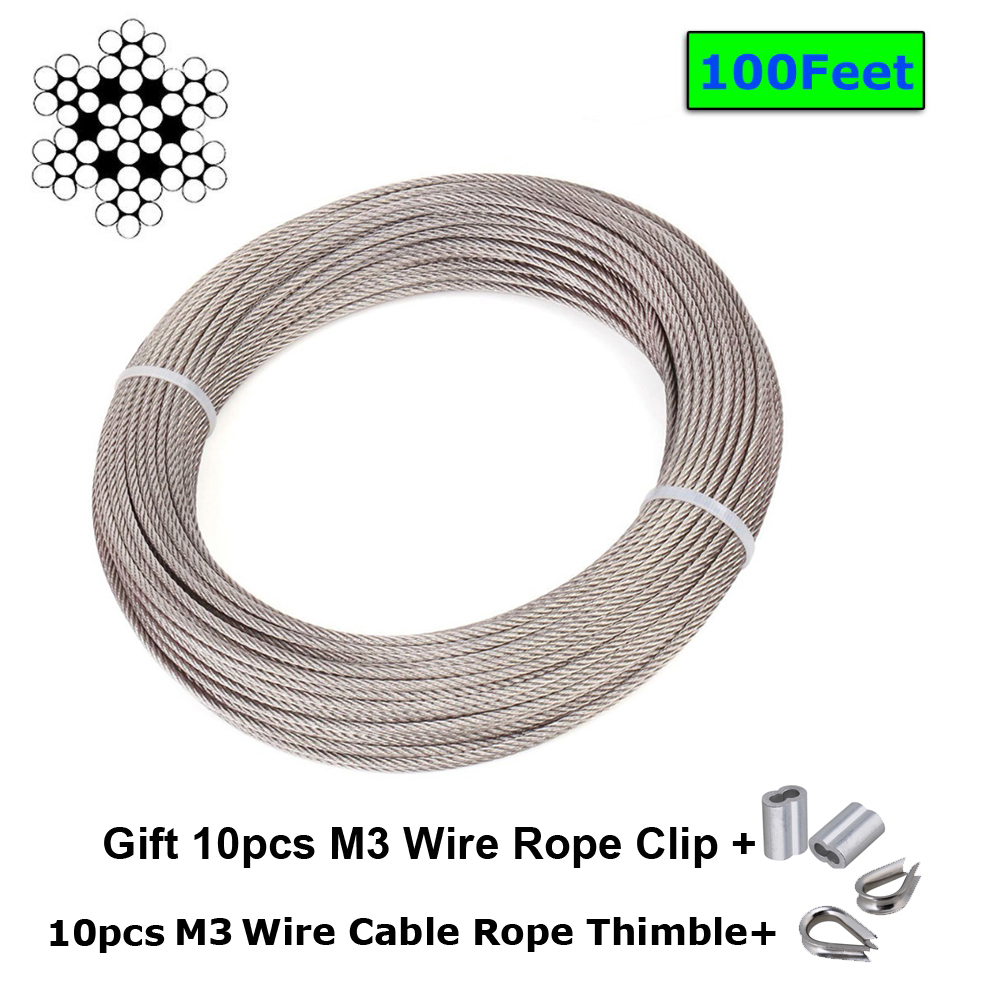 1mm, 10m 3mm 1mm Wire Rope Stainless Steel A4 Marine Hardware Grade Cable 7 x 7 4mm 2mm