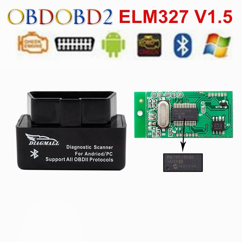 Prix pour Diagmall ELM327 Bluetooth OBD2 OBDII V1.5 Auto Diagnostic Scanner ELM327 V 1.5 Pour Andorid Couple ELM 327 OBD Adaptateur Scanner