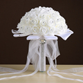 Свадебный Букет 2017 Цветок Rosr Атласа с Кристально Брошь Партия Невесты де mariage Свадебные Букеты