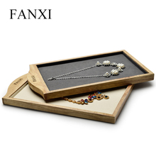 FANXI Cream-white&Dark gray Solid wood Necklace&Pendant display Stand with Microfiber for Jewellry Ring Exhibition Jewelry Tray
