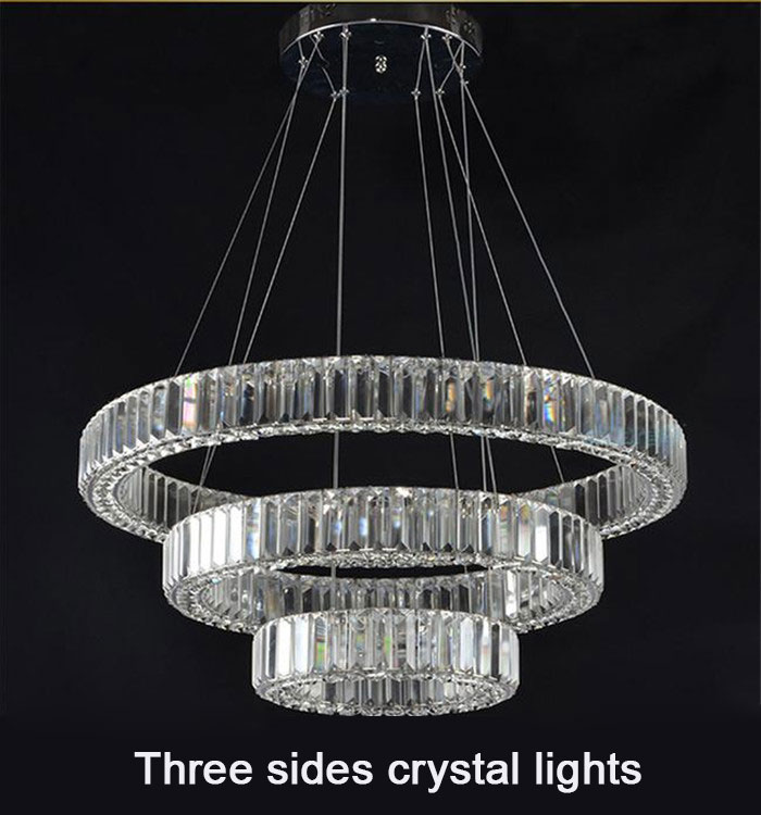crystal lustres LED chandelier lighting Villa living room long crystal ring <font><b>diamond</b></font> three sides hotel industrial led lamp