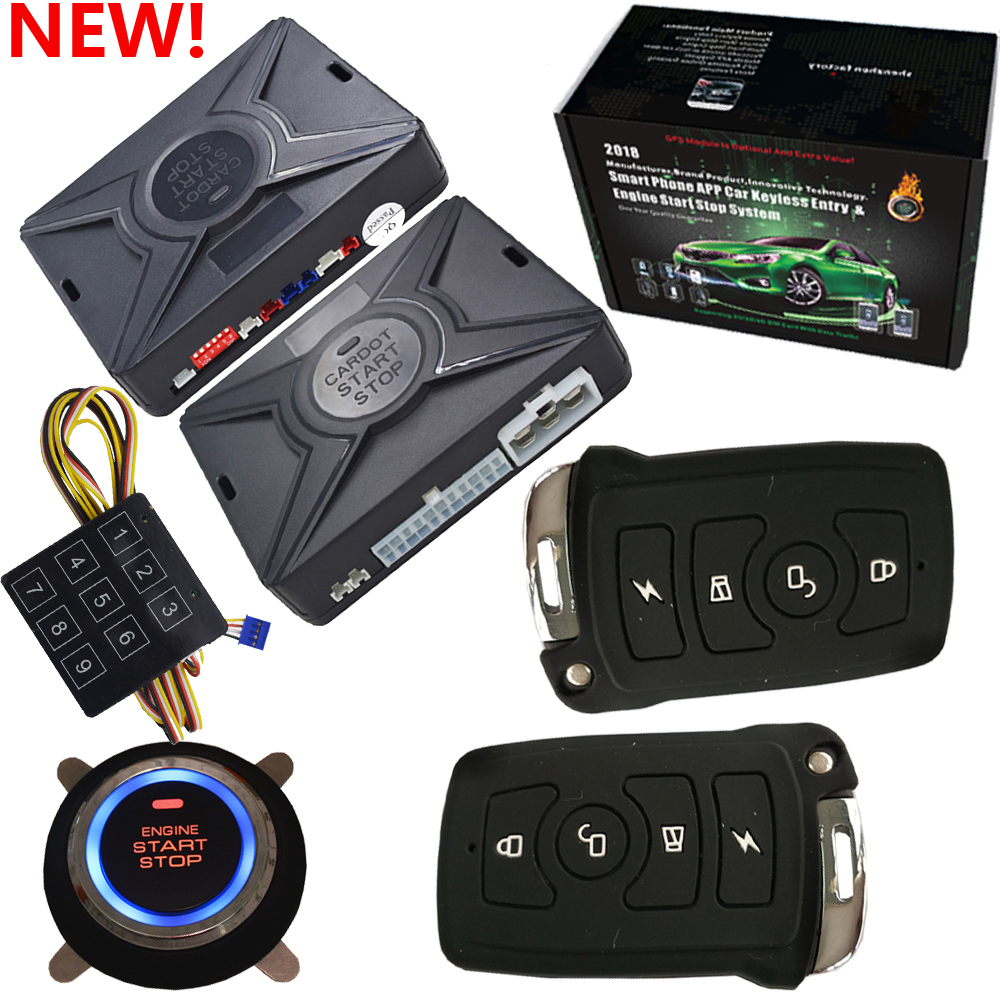 smart car alarm system rfid keyless entry central lock with remote start stop engine push start function smart anti robbery