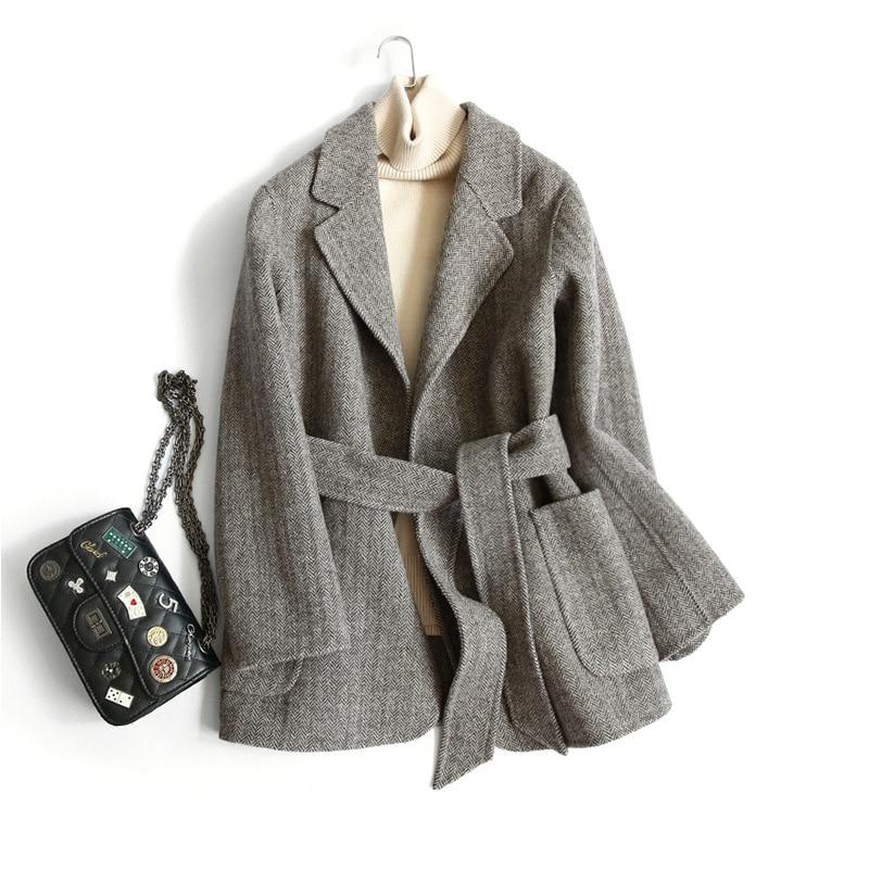 Shuchan Veste Femme Hiver Chaud 90% De Laine Manteau Pour Femmes Ceinture Turn-down Col Style Coréen Veste Manteaux Pour dames D0755