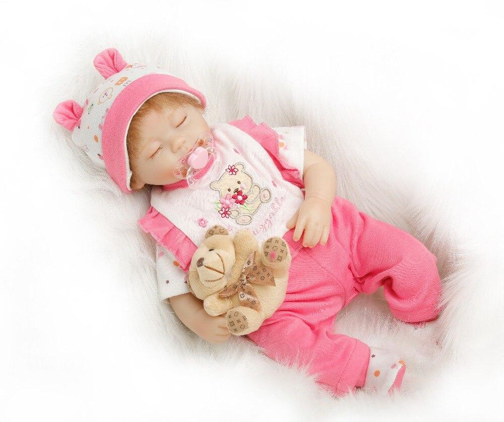 SanyDoll 16 pouces 40 cm Silicone bébé reborn poupées, poupée réaliste reborn rose costume belle poupée de sommeil