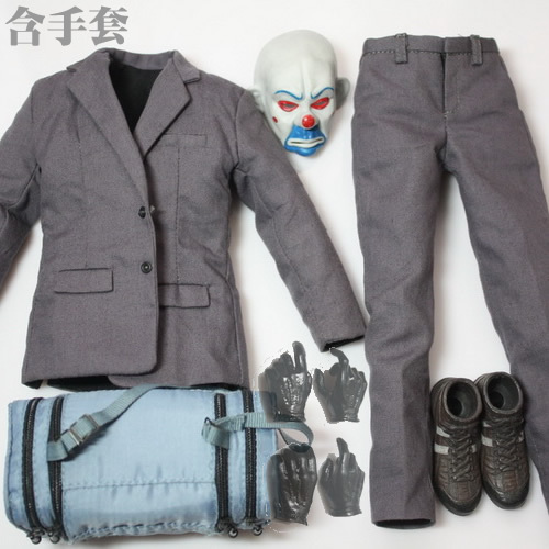CGL C04 1/6 Batman joker Robbers Clothing for 12inch doll included mask and Gloves-Hand,The body and headsculpt are not included 1 6 batman joker heath ledger mask headsculpt for 12inch doll parts body clothes and body are not included