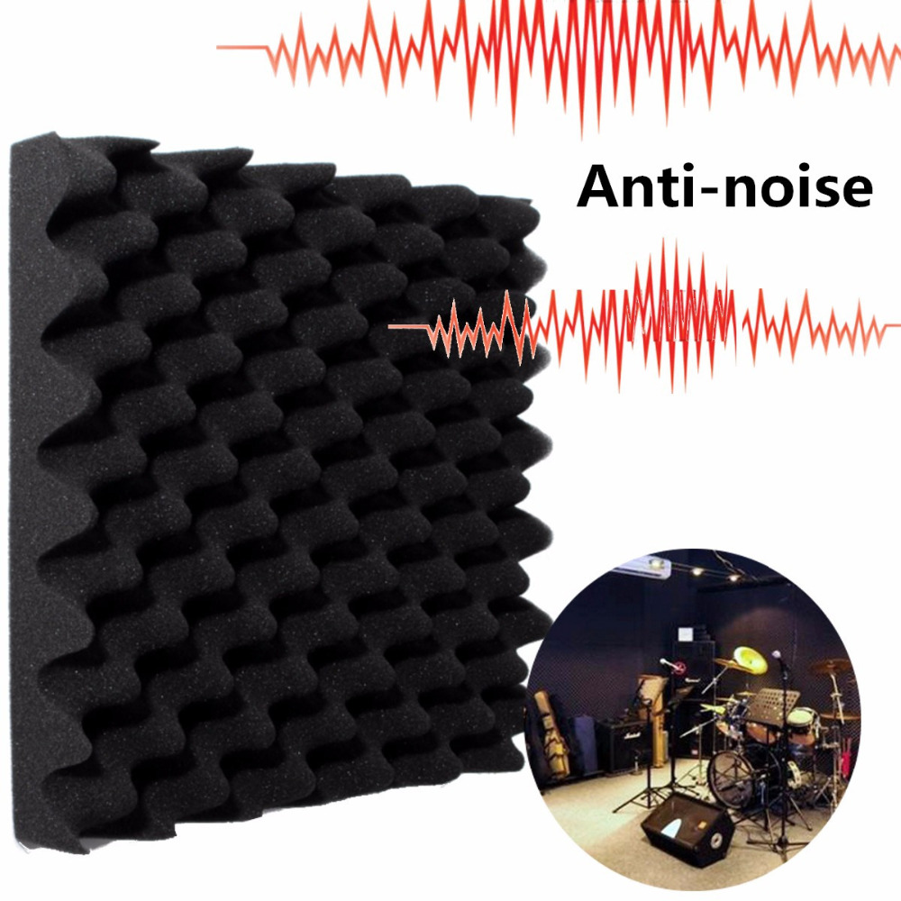 Black 30 X 30 X 6cm Egg-style Soundproofing Foam Crate Acoustic Wedge Foam Drum Room  Absorption Acoustical Soundproofing Sponge