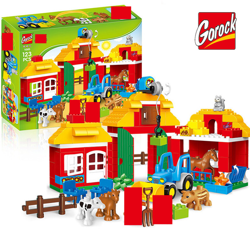 123PCS Happy Farm Big Size Building Blocks Sets Zoo With Animals Kids City DIY LegoINGLs Duplo Bricks Toys for Children