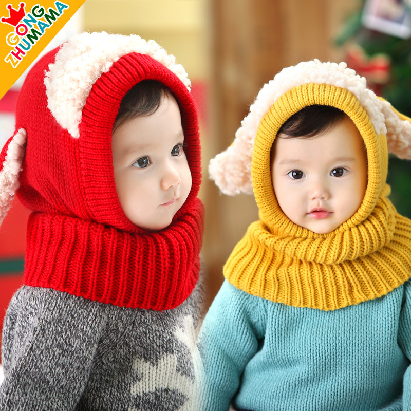 Super Cute Sheep Kids Winter Hat Knitted Baby Winter Hat Neck Cover Warmer Boys Girls Crochet Hat Beanies