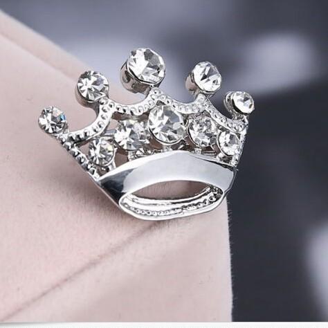 бесплатная доставка! горячая распродажа искра кристалл горного хрусталя мини серебряная корона контактный броши