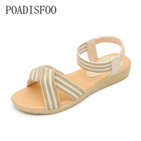 The New Multi Color Stripe Summer Fashion Flat Sandals Five Colors Large Size 35 To 41